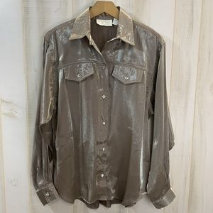 Cache Brown Metallic Blouse Top Size Large Bronze
